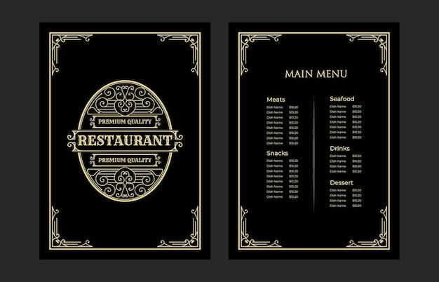 Luksusowa restauracja szablon karty menu żywności w stylu vintage z logo dla kawiarni hotel cafe bar