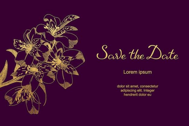 Luksusowa ślubna karta z lelui nakreślenia kwiatami, liście. zapisz szablon karty data.