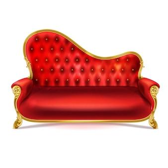 Luksusowa sofa z czerwonej skóry, aksamitu lub jedwabiu ze złotymi, rzeźbionymi nogami
