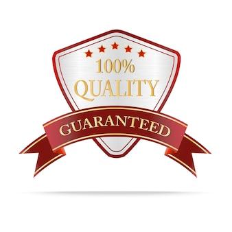 Luksusowa srebrna i czerwona etykieta jakości