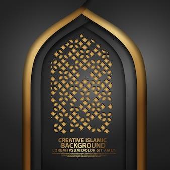Luksusowa sztuka islamu na kartkę z życzeniami z realistyczną teksturą meczetu drzwi z ozdobną mozaiką. ilustrator wektor