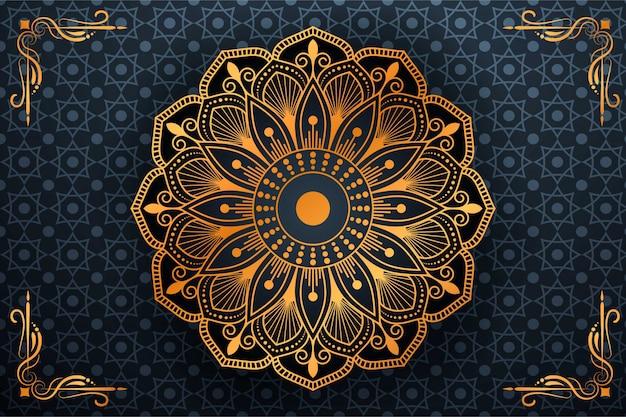 Luksusowa sztuka mandali z arabskim islamskim stylem tła