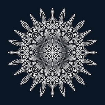 Luksusowa sztuka mandali ze srebrnym arabeskowym tłem arabskiego islamskiego stylu wschodniego