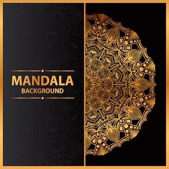 Luksusowa sztuka mandali ze złotym arabeskowym tłem arabski islamski styl wschodni