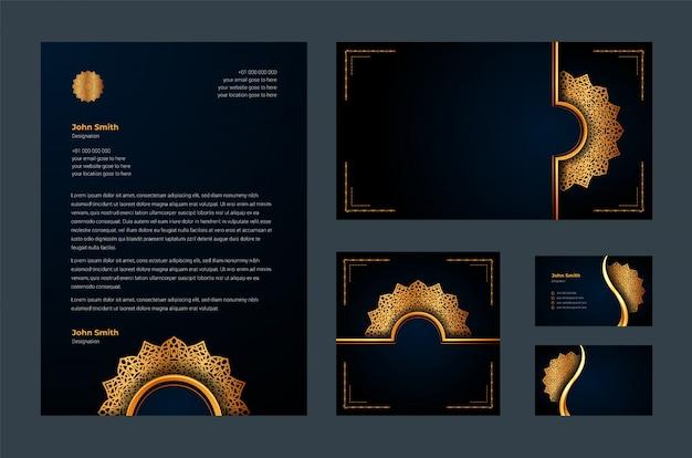 Luksusowa tożsamość marki lub stacjonarny szablon z luksusową ozdobną mandalą arabeska