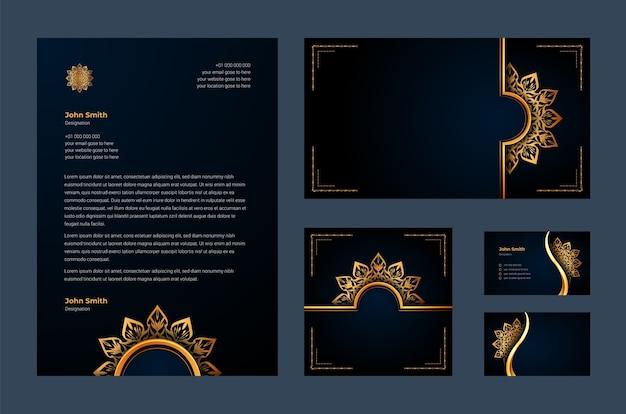 Luksusowa tożsamość marki lub szablon projektu stacjonarnego z luksusową ozdobną arabeską mandali, wizytówką, papierem firmowym
