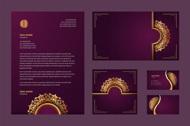 Luksusowa tożsamość marki lub szablon stacjonarny z luksusowym ozdobnym mandali arabeska
