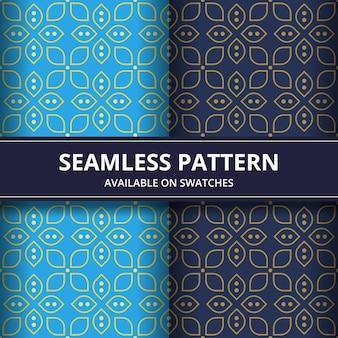 Luksusowa tradycyjna indonezja batikowa bezszwowa deseniowa tło tapeta w klasycznym stylu. zestaw w kolorze niebieskim