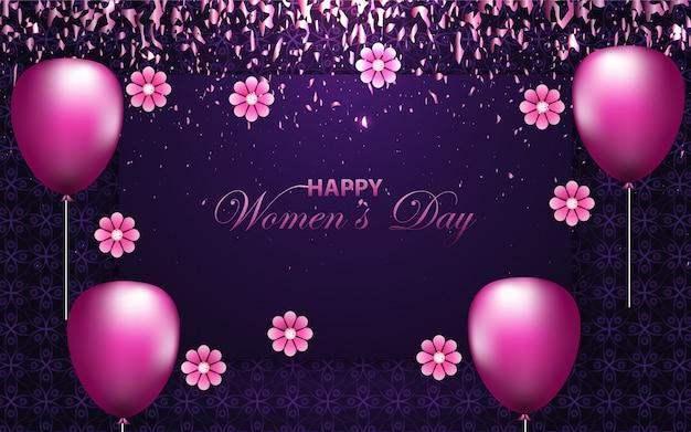 Luksusowa uroczystość z okazji dnia matki z elegancką dekoracją na fioletowym tle