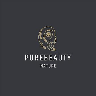 Luksusowa uroda kobieta logo ikona projekt szablonu wektor premium