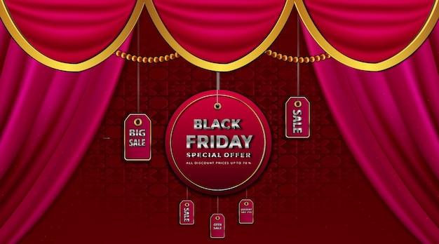 Luksusowa wyprzedaż w czarny piątek na złotej etykiecie sprzedaży różowe jedwabne aksamitne zasłony