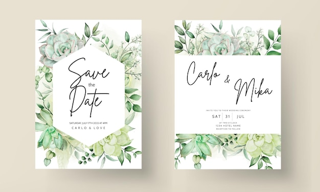 Luksusowa zieleń zaproszenia na ślub kwiatowy