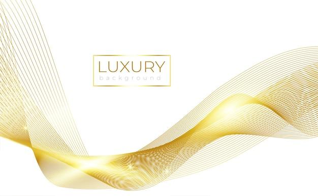 Luksusowa złota fala linii na białym tle z błyszczącym światłem