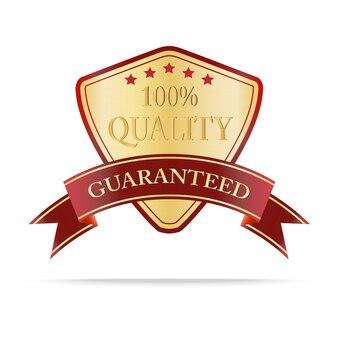 Luksusowa złota i czerwona tarcza jakości etykiety