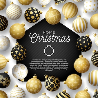 Luksusowa złota kartka merry home christmas z zabawnymi minimalistycznymi bombkami. przebywanie w domu w kwarantannie. reakcja.