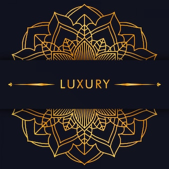 Luksusowa złota mandala na czarnym tle