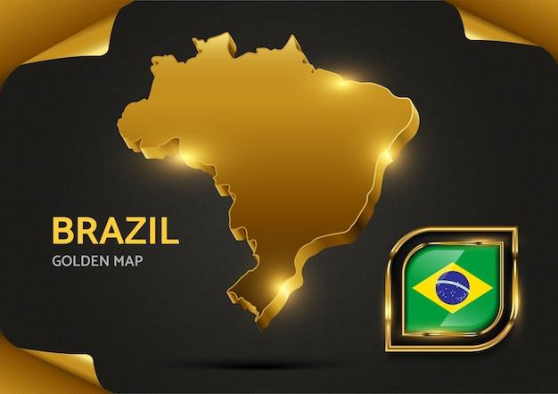 Luksusowa złota mapa brazylii