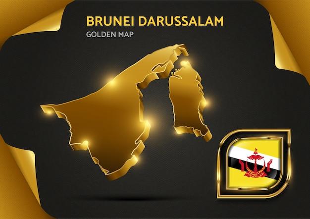 Luksusowa złota mapa brunei darussalam