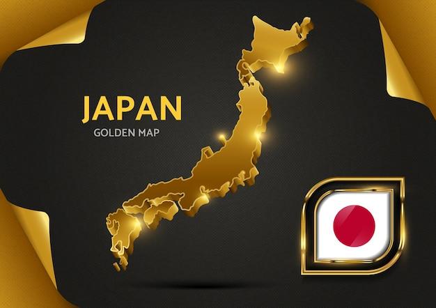 Luksusowa złota mapa japonii