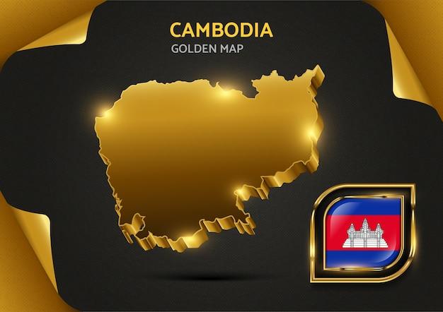 Luksusowa złota mapa kambodży