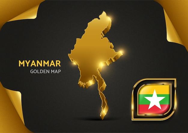 Luksusowa złota mapa myanmar