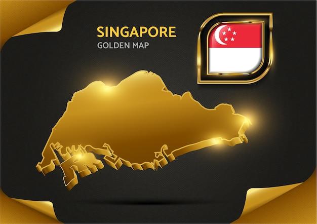 Luksusowa złota mapa singapuru