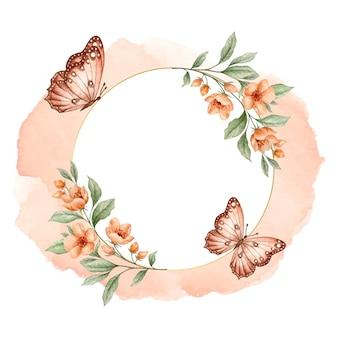 Luksusowa złota rama kwiatowy z motylami