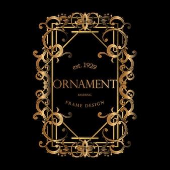Luksusowa złota ramka z dekoracyjnym ornamentem