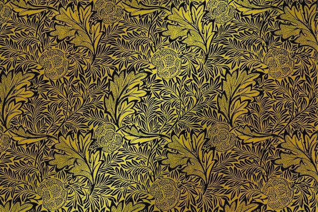 Luksusowa, złota tapeta w kwiaty, remiks z grafiki autorstwa williama morrisa