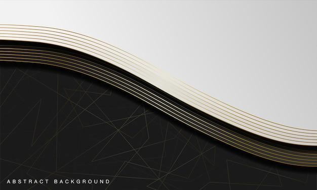 Luksusowe abstrakcyjne czarno-białe tło krzywej ze złotymi elementami linii