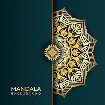 Luksusowe abstrakcyjne tło sztuki islamskiej mandali w złote efekty kolorystyczne