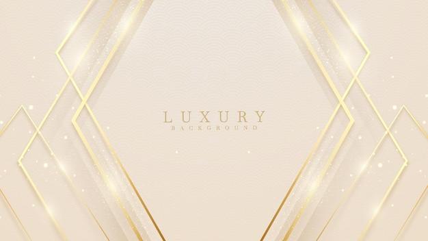 Luksusowe abstrakcyjne tło ze złotymi liniami błyszczą kształty geometryczne. ilustracja z wektora o nowoczesnym projekcie szablonu dla słodkiego i eleganckiego uczucia.