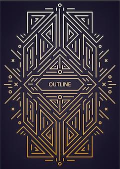 Luksusowe antyczne art deco geometryczne liniowe