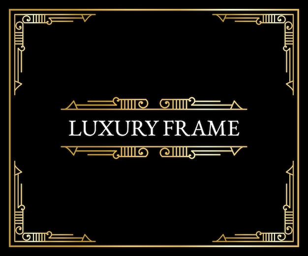 Luksusowe antyczne elementy art deco złote obramowania ramki narożniki przegrody i nagłówki