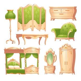 Luksusowe barokowe wnętrze, romantyczna sypialnia w stylu vintage