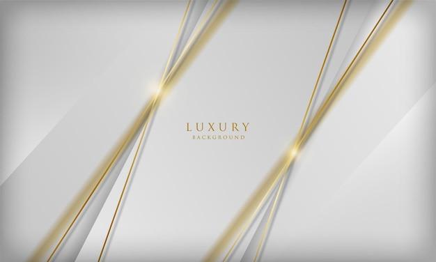 Luksusowe białe tło ze złotymi elementami linii rozmycia 3d elegancki szablon projektu