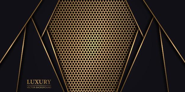 Luksusowe ciemne abstrakcyjne tło ze złotym sześciokątnym włóknem węglowym