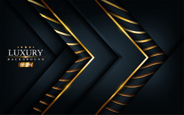 Luksusowe ciemne czarne tło z kompozycją złote linie