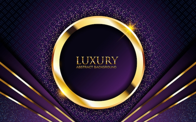 Luksusowe ciemne fioletowe tło ze złotym kółkiem i brokatem