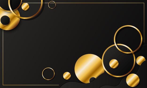 Luksusowe ciemne i złote tło geometryczne koło. ilustracja wektorowa.