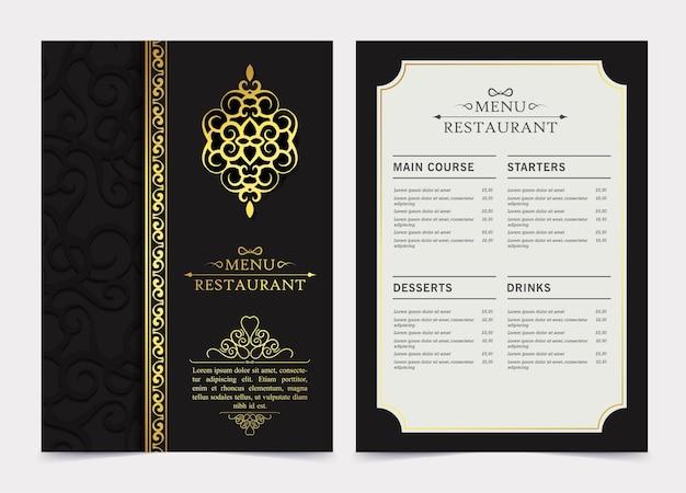 Luksusowe ciemne menu restauracji z ornamentem logo
