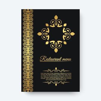 Luksusowe ciemne menu restauracji z ornamentem z logo