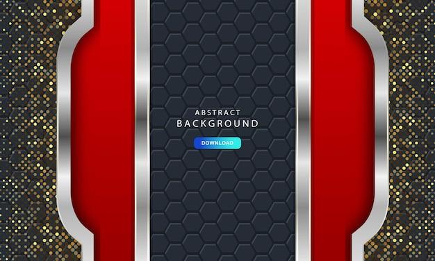 Luksusowe ciemne tło z teksturą sześciokąta z włókna węglowego. nowoczesne tło z metalowymi liniami. streszczenie futurystyczny luksus czerwone tło.