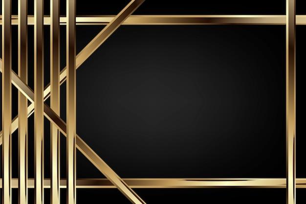 Luksusowe ciemne tło z teksturą węgla i złotą ramą