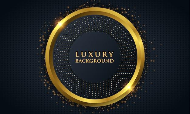 Luksusowe ciemne tło z złotym kółkiem