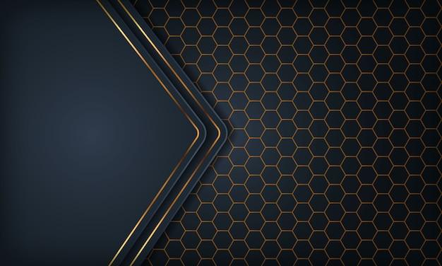 Luksusowe ciemnoniebieskie tło wymiarowe pokrywają się ze złotą linią