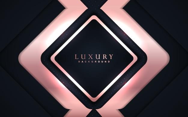 Luksusowe ciemnoniebieskie tło z różową złotą dekoracją