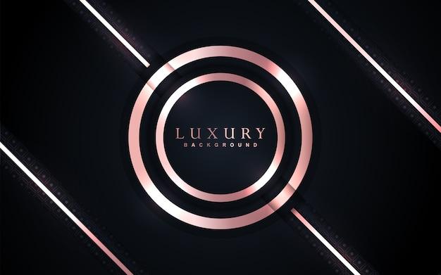 Luksusowe ciemnoniebieskie tło ze złotą dekoracją