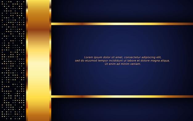 Luksusowe ciemnoniebieskie tło ze złotym paskiem i brokatem