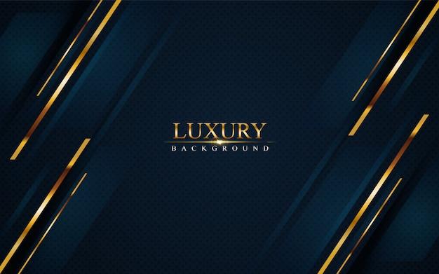 Luksusowe ciemnoniebieskie tło ze złotymi liniami